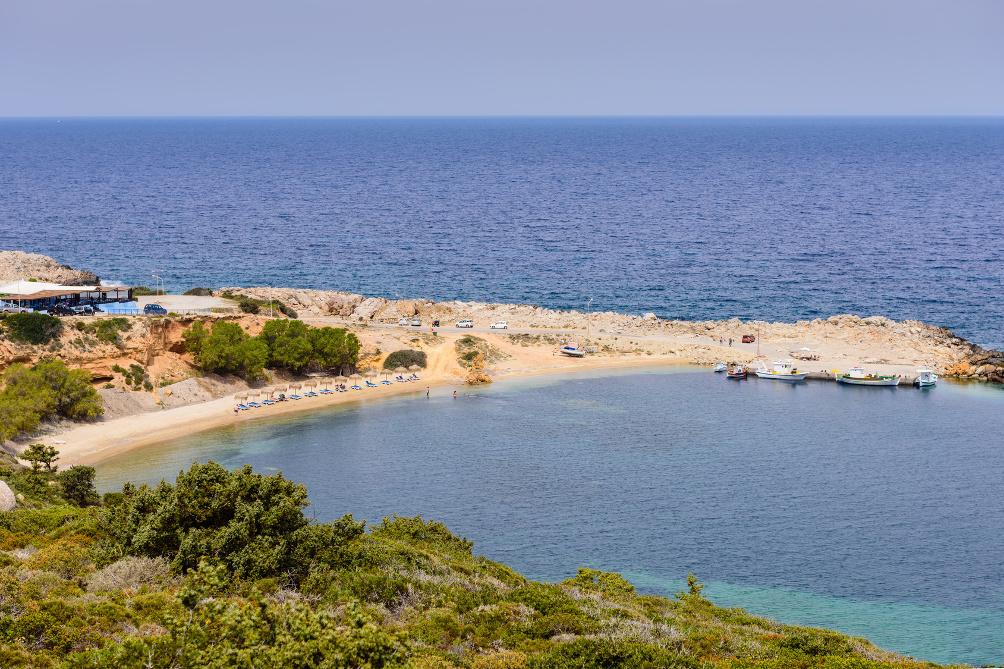 Limnionas Beach Bucht (links das Fischlokal)