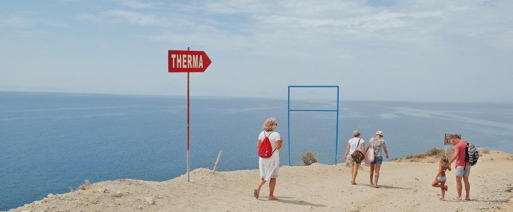 Abstieg zur Embros Therme und zum Therma Beach