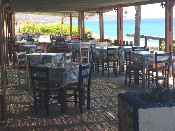 Terrasse der Sunny Beach Taverne auf Kos